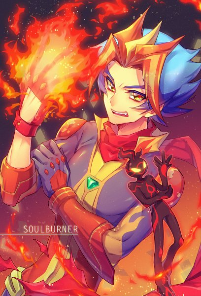 Tags: Anime, Ryou*, Yu-Gi-Oh! VRAINS, Yu-Gi-Oh!, Homura Takeru, Flame (Yu-Gi-Oh! VRAINS), Soulburner, Mouthless, Flame Print, Pixiv, Fanart, Fanart From Pixiv