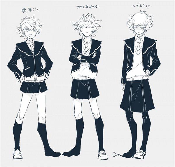 Tags: Anime, Pixiv Id 2211140, Yu-Gi-Oh! VRAINS, Yu-Gi-Oh!, Homura Takeru, Kougami Ryouken, Fujiki Yuusaku, Asymmetrical Footwear, Zaizen Aoi (Cosplay), Single Shoe, Leggings, Twitter, Fanart