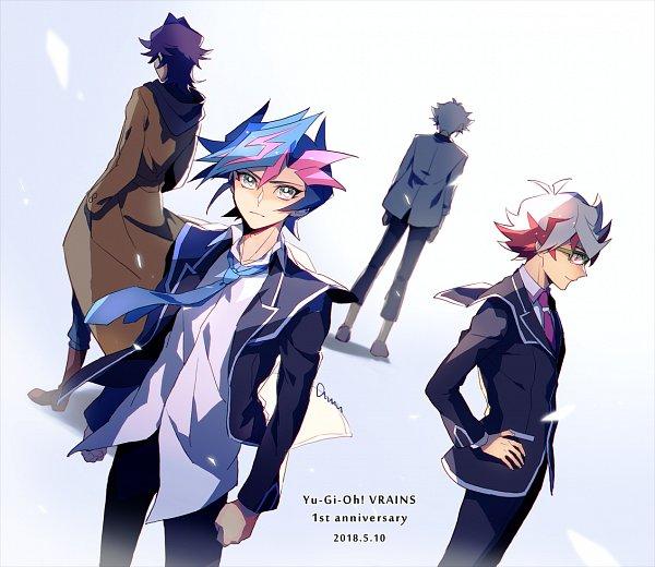 Tags: Anime, Pixiv Id 2211140, Yu-Gi-Oh! VRAINS, Yu-Gi-Oh!, Homura Takeru, Kougami Ryouken, Kusanagi Shouichi, Fujiki Yuusaku, Glowing Background, Tie Clip, Twitter, Fanart