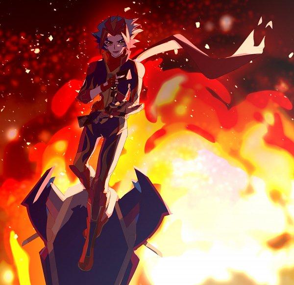 Tags: Anime, Pixiv Id 4056279, Yu-Gi-Oh! VRAINS, Yu-Gi-Oh!, Flame (Yu-Gi-Oh! VRAINS), Soulburner, Homura Takeru, Bomb, Hoverboard, D-Board, Floating Scarf, Fiery Eyes, Flame Print