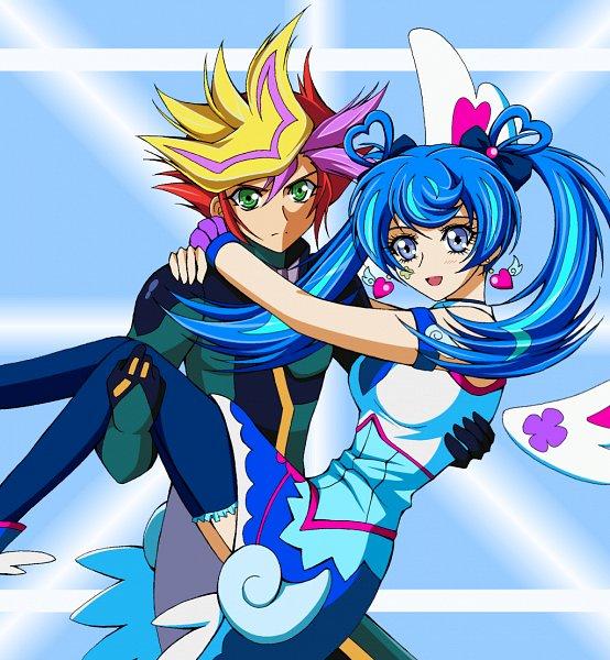 Tags: Anime, Pixiv Id 27369163, Yu-Gi-Oh! VRAINS, Yu-Gi-Oh!, Playmaker, Fujiki Yuusaku, Blue Angel, Zaizen Aoi, Heart Print, Detached Wings, Fanart From Pixiv, Pixiv, Fanart