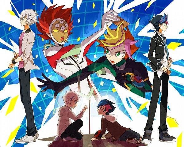 Tags: Anime, Pixiv Id 764746, Yu-Gi-Oh! VRAINS, Yu-Gi-Oh!, Kougami Ryouken, Fujiki Yuusaku, Revolver (Yu-Gi-Oh! VRAINS), Playmaker, Knights of Hanoi Uniform, Three Gesture, No Eyebrows, Fanart, Twitter