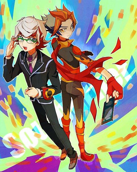 Tags: Anime, Pixiv Id 764746, Yu-Gi-Oh! VRAINS, Yu-Gi-Oh!, Homura Takeru, Soulburner, Floating Scarf, Tie Clip, Flame Print, Twitter, Fanart