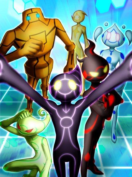 Tags: Anime, Pixiv Id 2909878, Yu-Gi-Oh! VRAINS, Yu-Gi-Oh!, Lightning (Yu-Gi-Oh! VRAINS), Aqua (Yu-Gi-Oh! VRAINS), Ai (Yu-Gi-Oh! VRAINS), Earth (Yu-Gi-Oh! VRAINS), Windy (Yu-Gi-Oh! VRAINS), Flame (Yu-Gi-Oh! VRAINS), Mouthless, Pixiv, Wallpaper