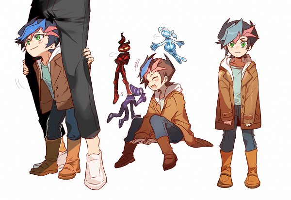 Tags: Anime, Shilla P, Yu-Gi-Oh! VRAINS, Yu-Gi-Oh!, Ai (Yu-Gi-Oh! VRAINS), Fujiki Yuusaku, Aqua (Yu-Gi-Oh! VRAINS), Flame (Yu-Gi-Oh! VRAINS), Flyi, Pixiv, Fanart, Fanart From Pixiv