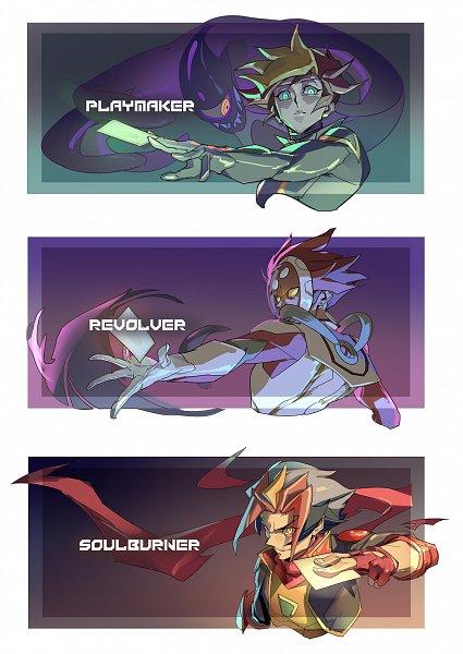 Tags: Anime, Pixiv Id 3856646, Yu-Gi-Oh! VRAINS, Yu-Gi-Oh!, Homura Takeru, Playmaker, Kougami Ryouken, Fujiki Yuusaku, Ai (Yu-Gi-Oh! VRAINS), Soulburner, Revolver (Yu-Gi-Oh! VRAINS), Knights of Hanoi Uniform, Fanart From Pixiv