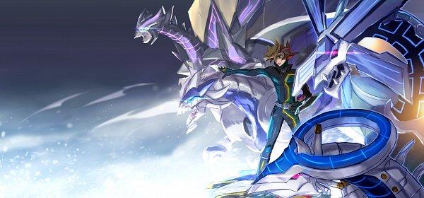 Tags: Anime, Pixiv Id 2813466, Yu-Gi-Oh! VRAINS, Yu-Gi-Oh!, Playmaker, Fujiki Yuusaku, Firewall Xceed Dragon, Cyberse Quantum Dragon, Firewall Dragon, Cyberse Clock Dragon, D-Board, Hoverboard, Fanart