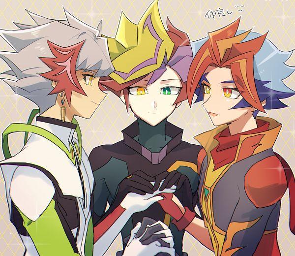 Tags: Anime, Pixiv Id 117696, Yu-Gi-Oh! VRAINS, Yu-Gi-Oh!, Revolver (Yu-Gi-Oh! VRAINS), Soulburner, Playmaker, Homura Takeru, Fujiki Yuusaku, Kougami Ryouken, Knights of Hanoi Uniform, Fanart From Pixiv, Pixiv