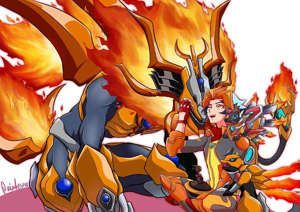 Tags: Anime, Pixiv Id 307477, Yu-Gi-Oh! VRAINS, Yu-Gi-Oh!, Salamangreat Meer, Flame (Yu-Gi-Oh! VRAINS), Soulburner, Salamangreat Balelynx, Homura Takeru, Salamangreat Heatleo, Fanart, Fanart From Pixiv, Pixiv