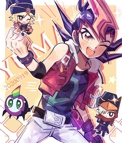 Tags: Anime, Yu-Gi-Oh! ZEXAL, Yu-Gi-Oh!, Tsukumo Yuma, Rainbow Kuriboh, Gagaga Magician, Gagaga Girl, Twitter, Fanart