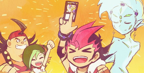 Tags: Anime, Yu-Gi-Oh!, Yu-Gi-Oh! ZEXAL, Astral, Mizuki Kotori, Tsukumo Yuma, Takeda Tetsuo, Fanart, Twitter