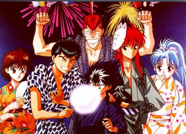 Tags: Anime, Yu Yu Hakusho, Kurama, Yukimura Keiko, Botan, Urameshi Yuusuke, Kuwabara Kazuma, Hiei, Official Art