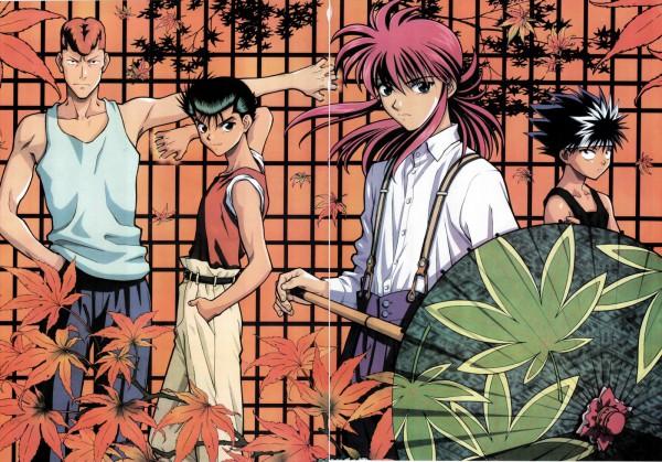 Tags: Anime, Togashi Yoshihiro, Yu Yu Hakusho, Urameshi Yuusuke, Kuwabara Kazuma, Hiei, Kurama, Official Art