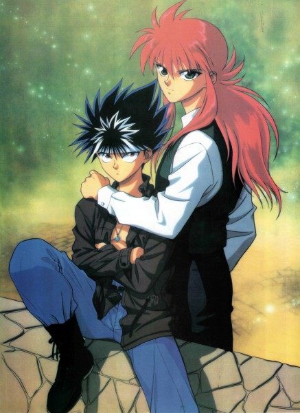 Tags: Anime, Yu Yu Hakusho, Kurama, Hiei, Mobile Wallpaper, Official Art