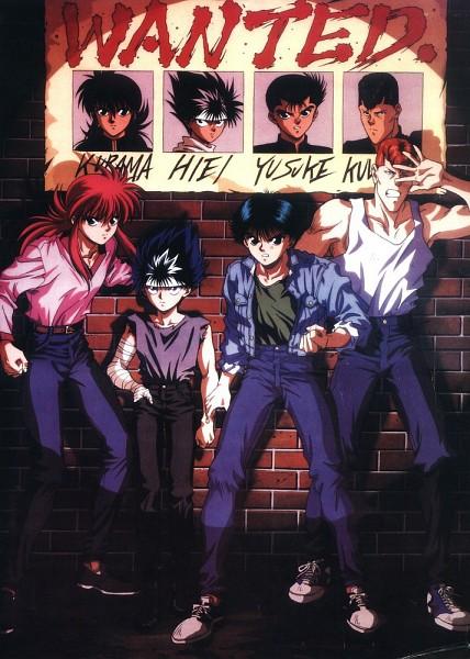 Tags: Anime, Yu Yu Hakusho, Urameshi Yuusuke, Kuwabara Kazuma, Hiei, Kurama, Mobile Wallpaper