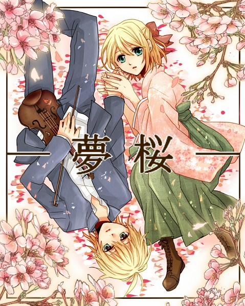 Tags: Anime, Kuchi, VOCALOID, Kagamine Len, Kagamine Rin, Fetal Position, Fanart, Pixiv, Yumezakura, Kagamine Mirrors, Sakura Dreams