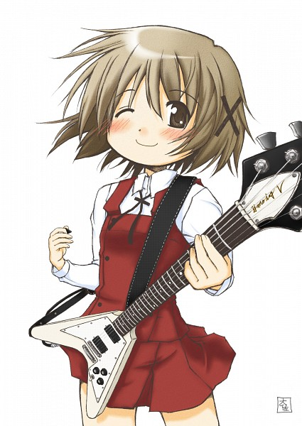 Tags: Anime, Hidamari Sketch, Yuno (Hidamari Sketch), Electric Guitar, Official Art, Scan