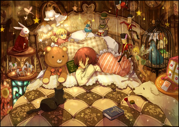 Tags: Anime, Yunomachi, Peter Pan, Brown, Carousel, Drum, Nutcracker, Drumsticks, Stained Glass, Hanging Star, Bedroom, Original, Pixiv