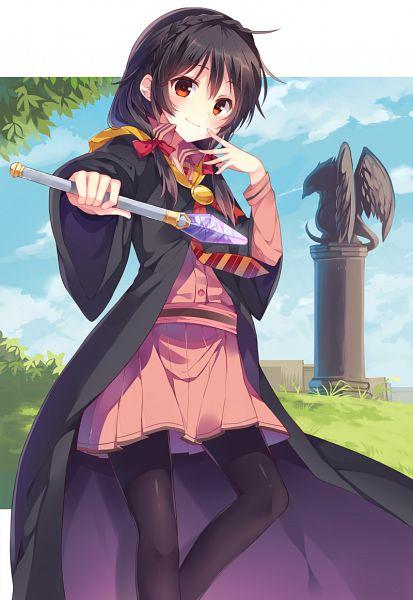 Tags: Anime, Mishima Kurone, Kono Subarashii Sekai ni Shukufuku wo!, Yunyun (KonoSuba), Statue, PNG Conversion, Mobile Wallpaper, Official Art