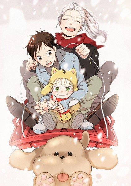 Tags: Anime, Ya512722, Yuri!!! On Ice, Katsuki Yuuri, Makkachin, Yuri Plisetsky, Victor Nikiforov, Poodle, Sled, Pointing at Camera, Toddler, Mobile Wallpaper, Pixiv