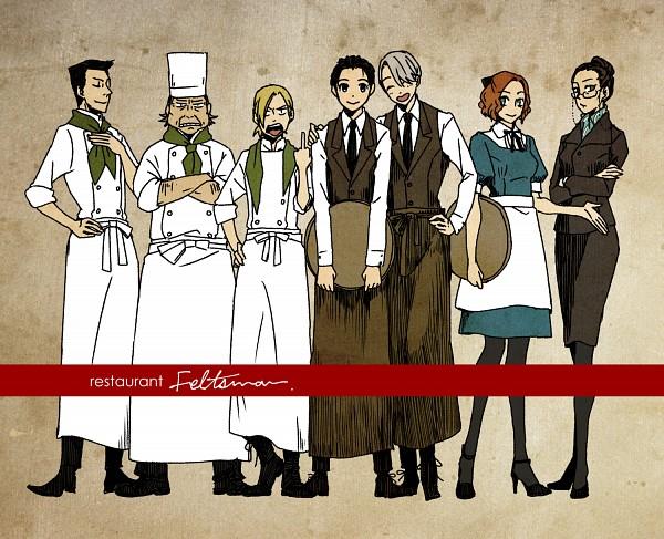 Tags: Anime, Baroqueline, Yuri!!! On Ice, Georgi Popovich, Yuri Plisetsky, Lilia Baranovskaya, Victor Nikiforov, Yakov Feltsman, Katsuki Yuuri, Mila Babicheva, Chef Uniform, Chef Hat, Fanart