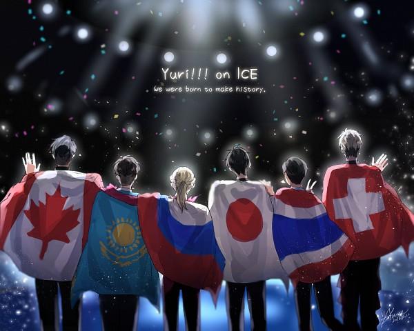 Tags: Anime, Pixiv Id 1330389, Yuri!!! On Ice, Katsuki Yuuri, Jean-Jacques Leroy, Christophe Giacometti, Otabek Altin, Yuri Plisetsky, Phichit Chulanont, Fanart, Fanart From Pixiv, PNG Conversion, Pixiv
