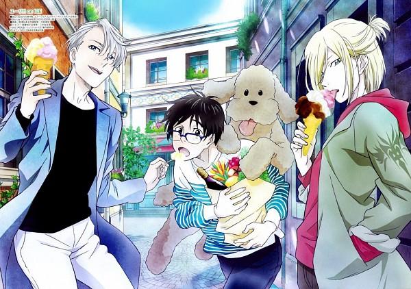 Tags: Anime, MAPPA, Yuri!!! On Ice, Yuri Plisetsky, Victor Nikiforov, Katsuki Yuuri, Makkachin, Poodle, Official Art
