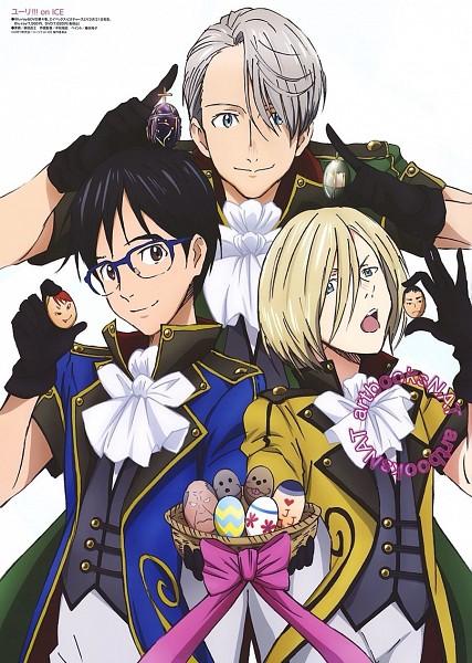 Tags: Anime, MAPPA, Yuri!!! On Ice, Victor Nikiforov, Katsuki Yuuri, Yuri Plisetsky, Easter, Official Art