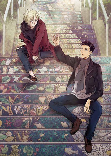 Tags: Anime, Yc, Yuri!!! On Ice, Yuri Plisetsky, Otabek Altin, Sitting On Stairs, OtaYuri