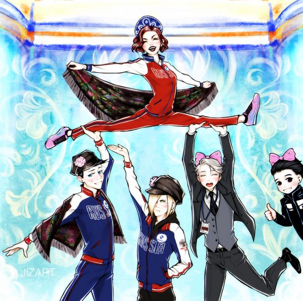 Tags: Anime, Pixiv Id 18863944, Yuri!!! On Ice, Victor Nikiforov, Katsuki Yuuri, Mila Babicheva, Georgi Popovich, Yuri Plisetsky