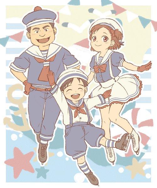 Tags: Anime, Pixiv Id 1171639, Yuri!!! On Ice, Katsuki Yuuri, Nishigori Takeshi, Nishigori Yuuko, Ice Skates, Pixiv, Fanart, Fanart From Pixiv