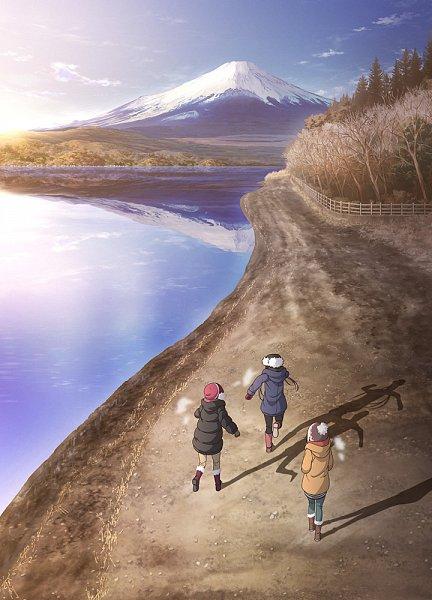 Tags: Anime, Sasaki Mutsumi (Animator), C-Station, Yuru Camp, Yuru Camp△ Season 2, Inuyama Aoi, Oogaki Chiaki, Kagamihara Nadeshiko, Mount Fuji, Sunrise, Key Visual, Official Art