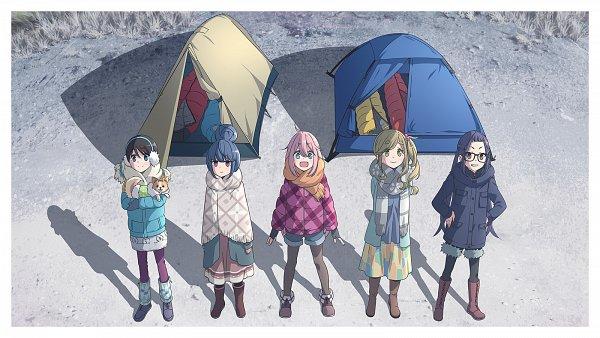 Tags: Anime, Sasaki Mutsumi (Bee Train), C-Station, Yuru Camp, Kagamihara Nadeshiko, Saitou Ena, Inuyama Aoi, Oogaki Chiaki, Shima Rin, Chihuahua, Camping, Official Art