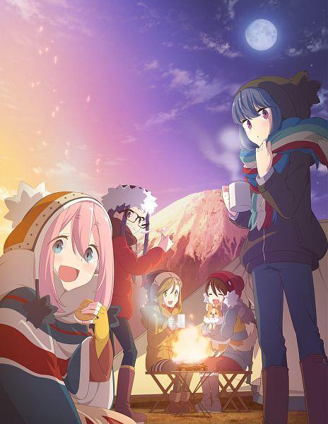 Tags: Anime, Sasaki Mutsumi (Bee Train), C-Station, Yuru Camp, Kagamihara Nadeshiko, Saitou Ena, Inuyama Aoi, Oogaki Chiaki, Shima Rin, Chihuahua, Key Visual, Official Art, Cover Image
