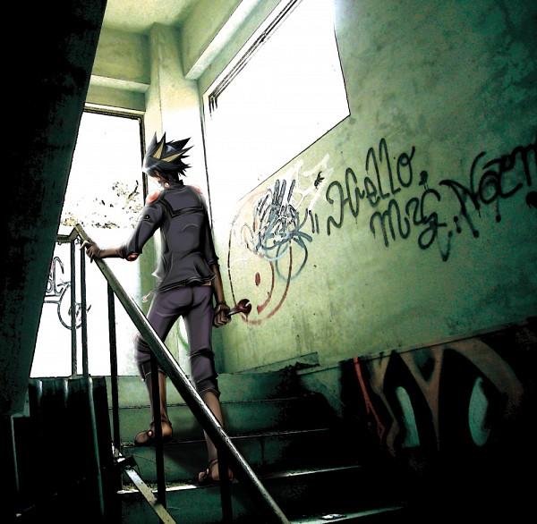 Tags: Anime, Takeda_frkz, Yu-Gi-Oh! 5D's, Yu-Gi-Oh!, Yusei Fudo, Graffiti, Wrench, Style-writing, Fanart, Pixiv
