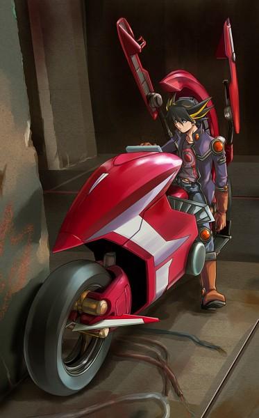 Tags: Anime, Ashi Ura, Yu-Gi-Oh!, Yu-Gi-Oh! 5D's, Yusei Fudo, Duel Runner, Fanart From Pixiv, Fanart, Pixiv