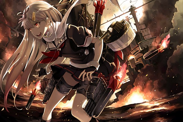 Tags: Anime, Hao (Patinnko), Kantai Collection, Yuudachi (Kantai Collection), Explosion, Missle, Pixiv, Fanart, Fanart From Pixiv