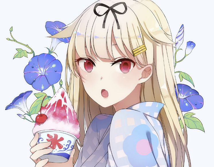 Tags: Anime, Pixiv Id 8008490, Kantai Collection, Yuudachi (Kantai Collection), Shaved Ice, Petunia (Flower), Morning Glory, PNG Conversion