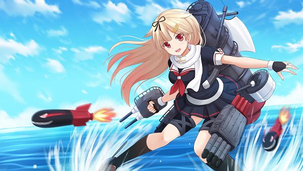 Tags: Anime, kazenokaze, Kantai Collection, Yuudachi (Kantai Collection), PNG Conversion, HD Wallpaper, Wallpaper