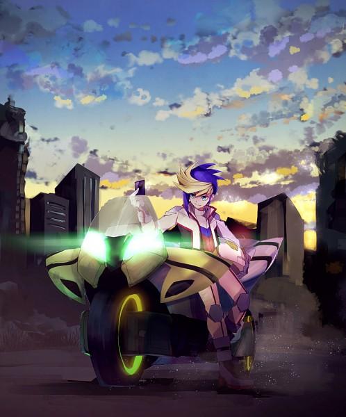 Tags: Anime, Pixiv Id 450909, Yu-Gi-Oh! ARC-V, Yu-Gi-Oh!, Yuugo (Yu-Gi-Oh! ARC-V), Sunrise, Duel Runner, Morning, Helmet Off, Motorcycle Helmet, Pixiv, Fanart From Pixiv, PNG Conversion
