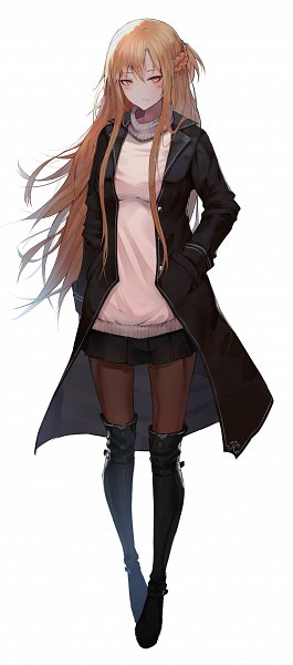 Tags: Anime, Pixiv Id 20944721, Sword Art Online, Yuuki Asuna, Leather Boots, Leather Clothes, Pixiv, Fanart From Pixiv, Fanart