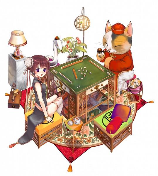 Tags: Anime, Yuuki Rika, Mahjong, Playing Games, Pixiv, Original