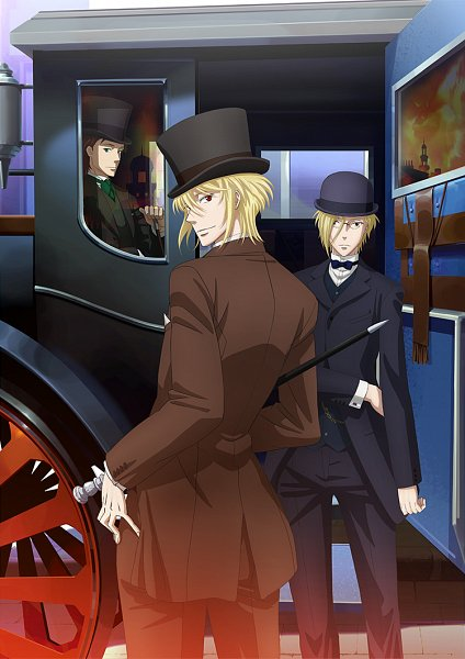 Tags: Anime, Ookubo Tooru, Production I.G., Yuukoku no Moriarty, Louis James Moriarty, Albert James Moriarty, William James Moriarty, Carriage, Official Art, Key Visual, Mobile Wallpaper, Moriarty The Patriot