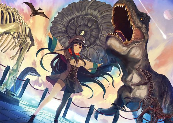 Tags: Anime, Yuunagi (Seventh Heaven), Eshi 100-nin Ten 05, Dinosaur, Original, Scan