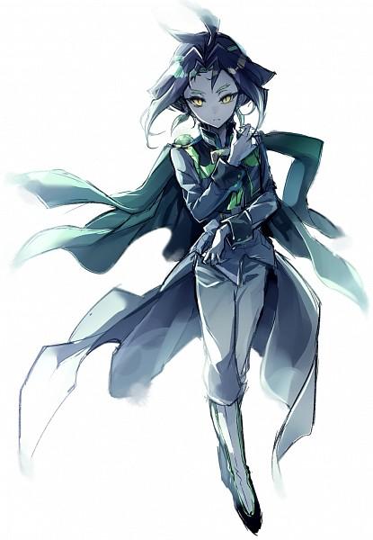 Tags: Anime, Yuui1994, Yu-Gi-Oh!, Yu-Gi-Oh! ARC-V, Yuuri (Yu-Gi-Oh! ARC-V), Glowing Background, Green Ribbon, Zarc (Cosplay), Green Cape, Sketch, Fanart From Pixiv, Fanart, PNG Conversion, Joeri