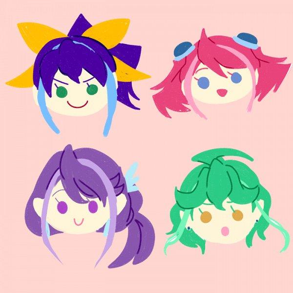 Tags: Anime, Yu-Gi-Oh!, Yu-Gi-Oh! ARC-V, Rin (Yu-Gi-Oh! ARC-V), Serena (Yu-Gi-Oh! ARC-V), Kurosaki Ruri, Hiiragi Yuzu, Yuzu Series, Heroine, Fanart, PNG Conversion, Pixiv