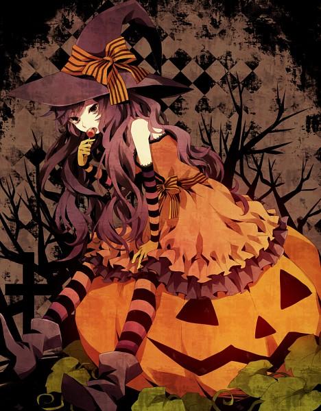 Tags: Anime, Yuzuki Karu, Ivy, Sitting On Pumpkin, Pixiv, Original