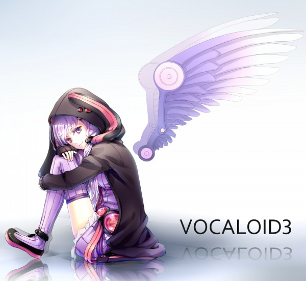Tags: Anime, Yaman Ouzura, Voiceroid, VOCALOID, Yuzuki Yukari, Detached Wings, Black Hoodie, Mechanical Wings, Purple Legwear, Fanart From Pixiv, PNG Conversion, Fanart, Pixiv