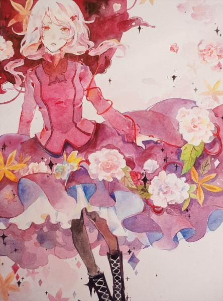 Tags: Anime, Kaytseki, Supercell, GUILTY CROWN, Yuzuriha Inori, Dark Colors, Gown, Watercolor, Traditional Media, EGOIST