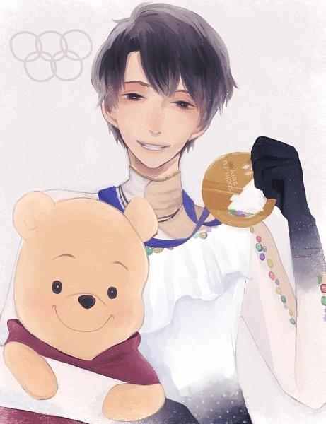 Tags: Anime, Pixiv Id 8359984, Winnie the Pooh, Yuzuru Hanyu, Pooh Bear, Ice Skating, Figure Skating, Medal, Olympics
